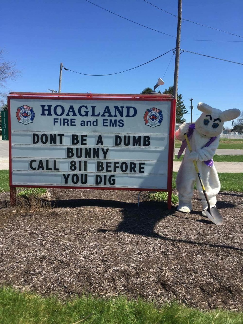 "Hoagland fire and ems - ""don't be a dumb bunny..."""