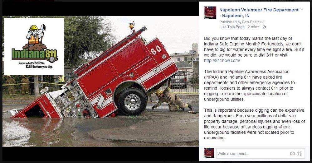 """napoleon volunteer fire department - """"fire truck in water"""""""