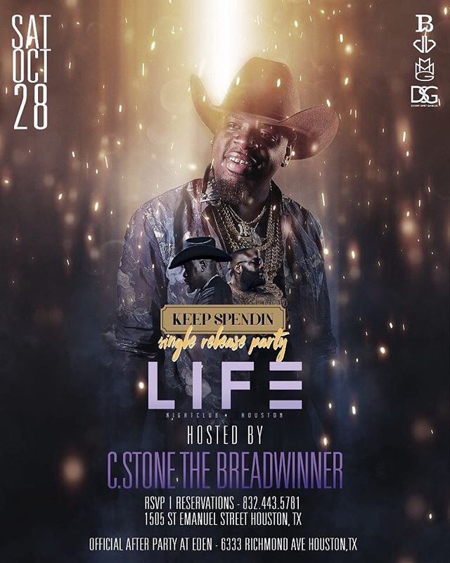 "Houston!  @cstonethebreadwinner will be having his single release party tonight , ""keep spendin"" ft Rick Ross! Don't want to miss out ! #Stickypromo #stickysavageaf #lifesaturdays"