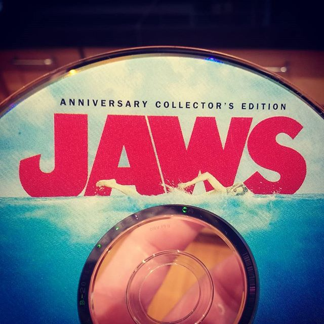 @jmillergal and I watch lots of movies and this is one of our favorites. It's also a 4th of July tradition. Shhh. It's about to start. #jaws #youcantclosethebeachesitsthefourthofjuly #weregonnaneedabiggerboat #shshshshshark!