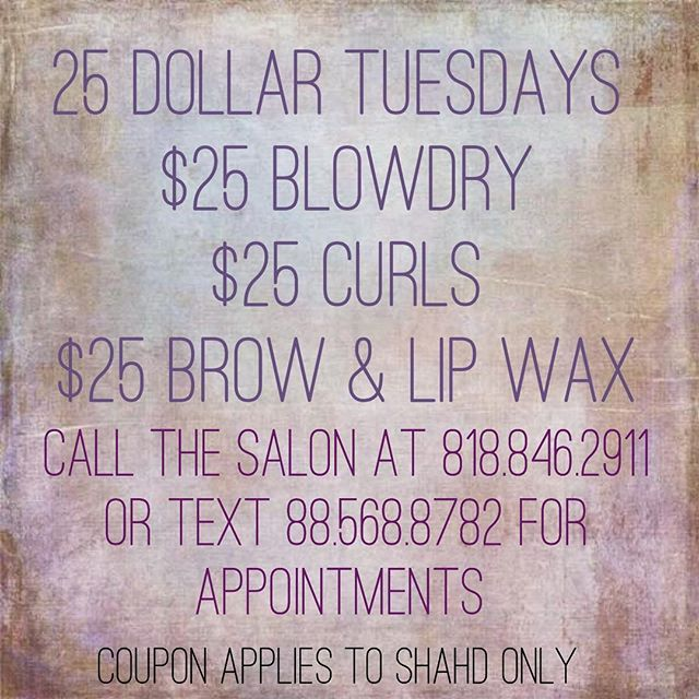 ATTENTION LADIES! Don't miss you on this awesome promotion our stylist shahd is having!!! Call and book your appointments in advance✌🏻💁‍♀️ #hairgame #hairstylist #blowdry #blowdryspecials #blowdrybar #burbankhairstylist