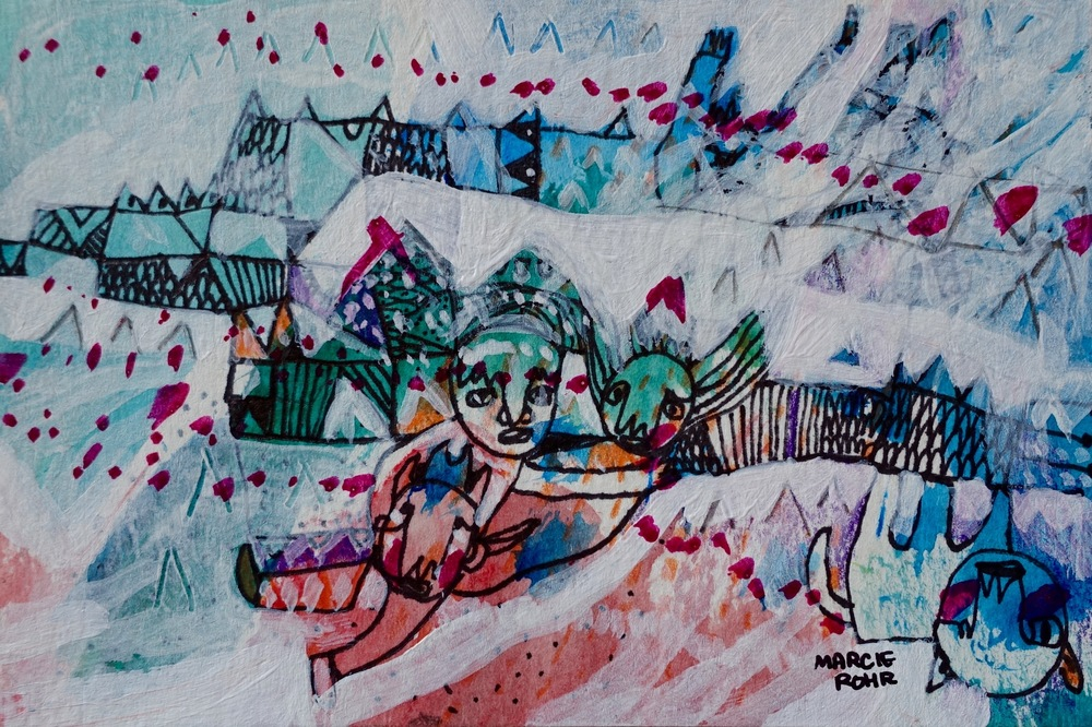 "The Work   Marcie Rohr, 2016  5"" x 3.5""  mixed media on paper   sold"