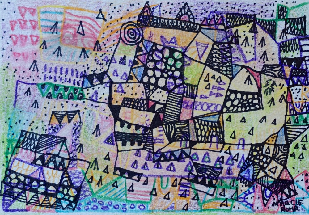 "Teepees, Tents and Tiny Houses   Marcie Rohr, 2016  5"" x 3.5""  mixed media on paper   sold"