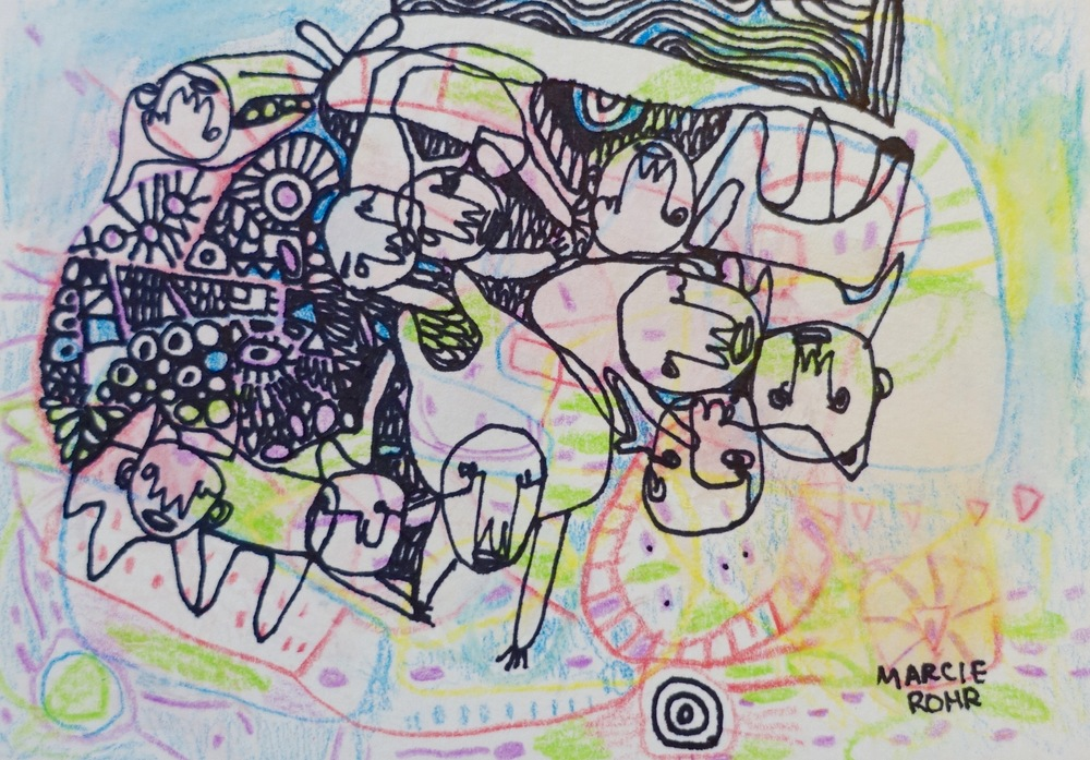 "Over Time   Marcie Rohr, 2016  5"" x 3.5""  mixed media on paper   $70    framed in white and ready to hang    e-transfers accepted    contact marcierohr@gmail.com"