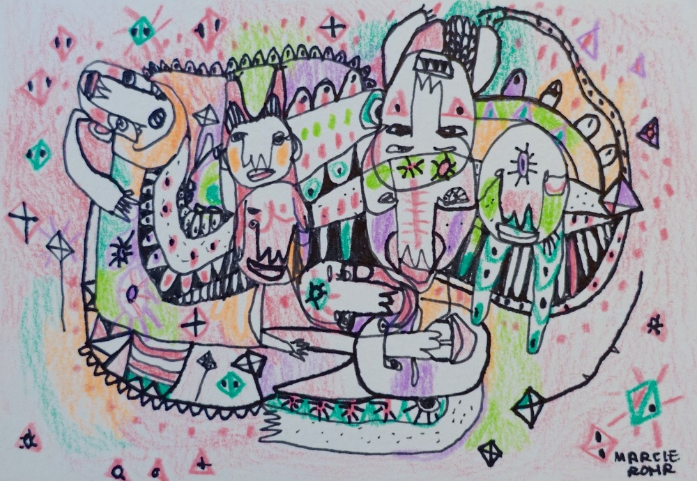 "Find Your Tribe   Marcie Rohr, 2016  5"" x 3.5""  mixed media on paper   $50    framed in white and ready to hang    e-transfers accepted    contact marcierohr@gmail.com"