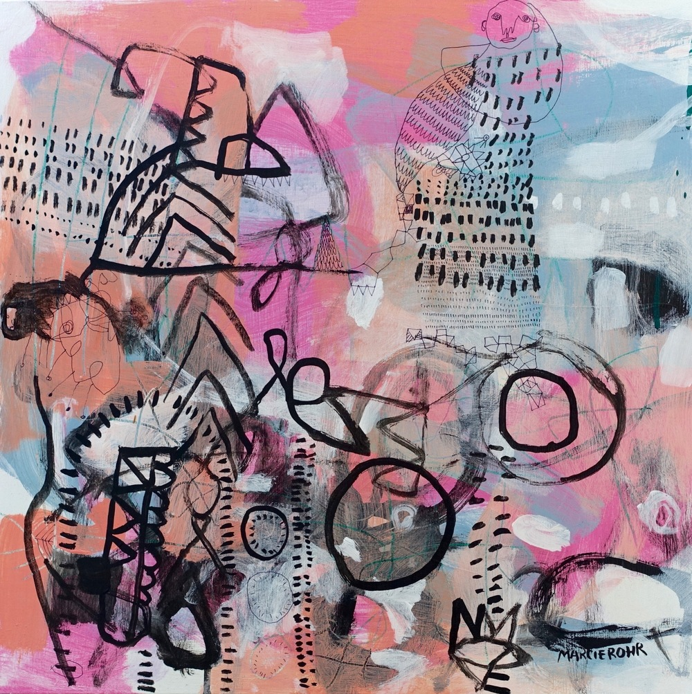 "Problem Solving Skills II   Marcie Rohr, 2016  18"" x 18""  acrylic on birch panel   sold"