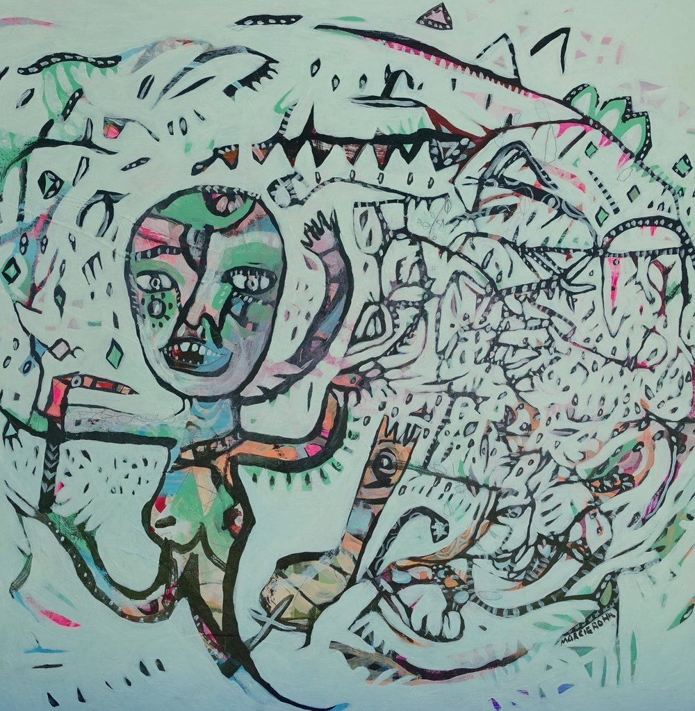 "Wild Dancing Lady   Marcie Rohr, 2016  24"" x 24""  acrylic on birch panel   sold"