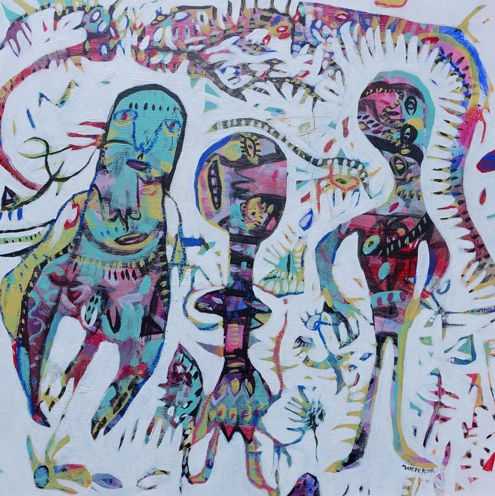 "Visitors   Marcie Rohr, 2016  20"" x 20""  acrylic on birch panel   $455"