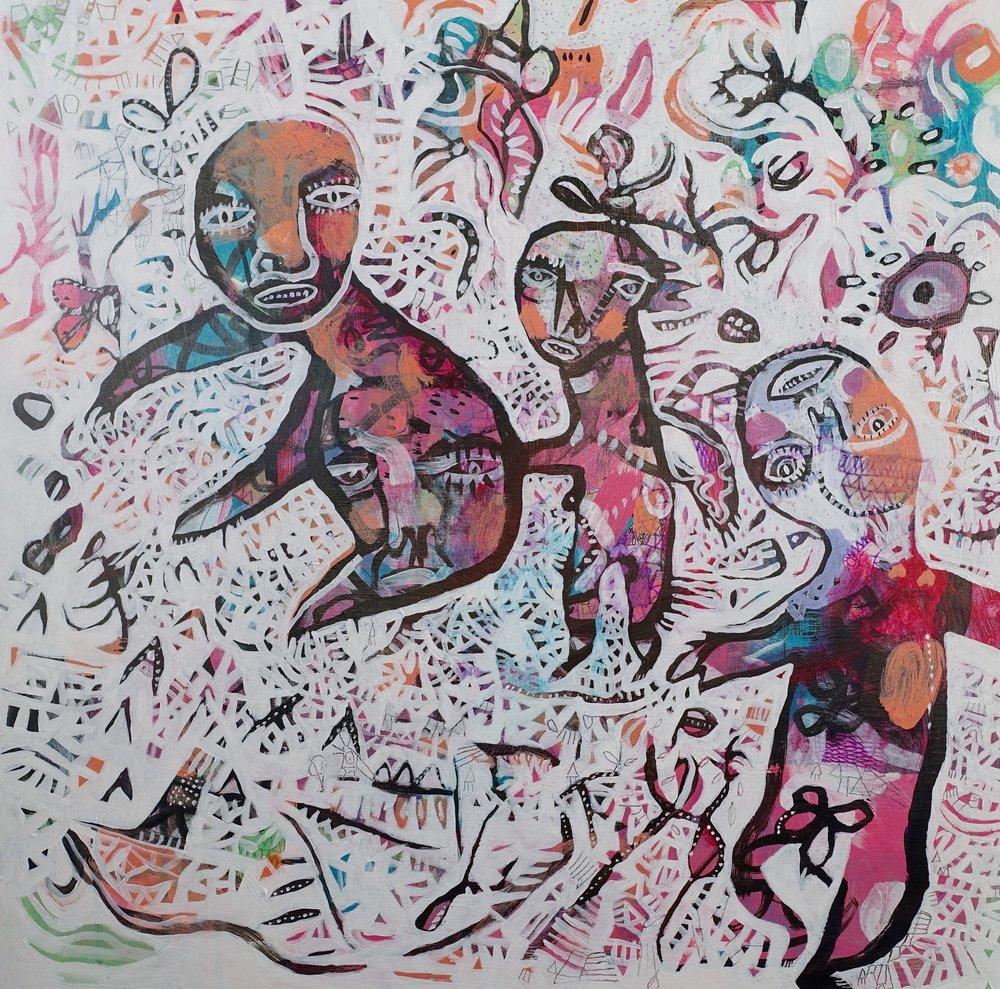 "By Happenstance   Marcie Rohr, 2016  24"" x 24""  acrylic on birch panel   $600"