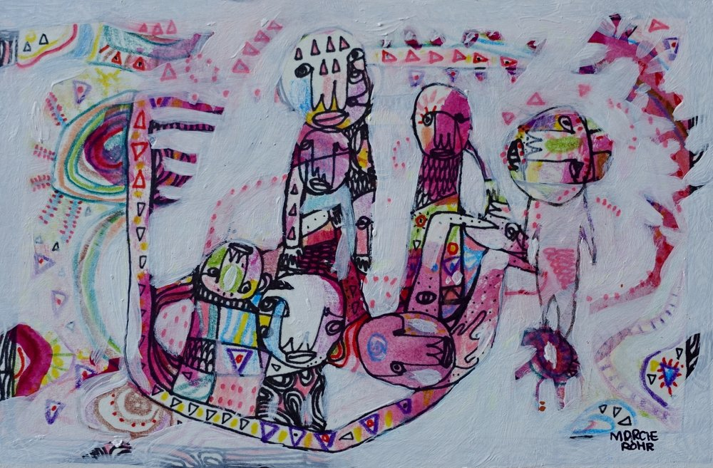 "The More We Get Together   Marcie Rohr, 2016  6"" x 4""  mixed media on paper   sold"