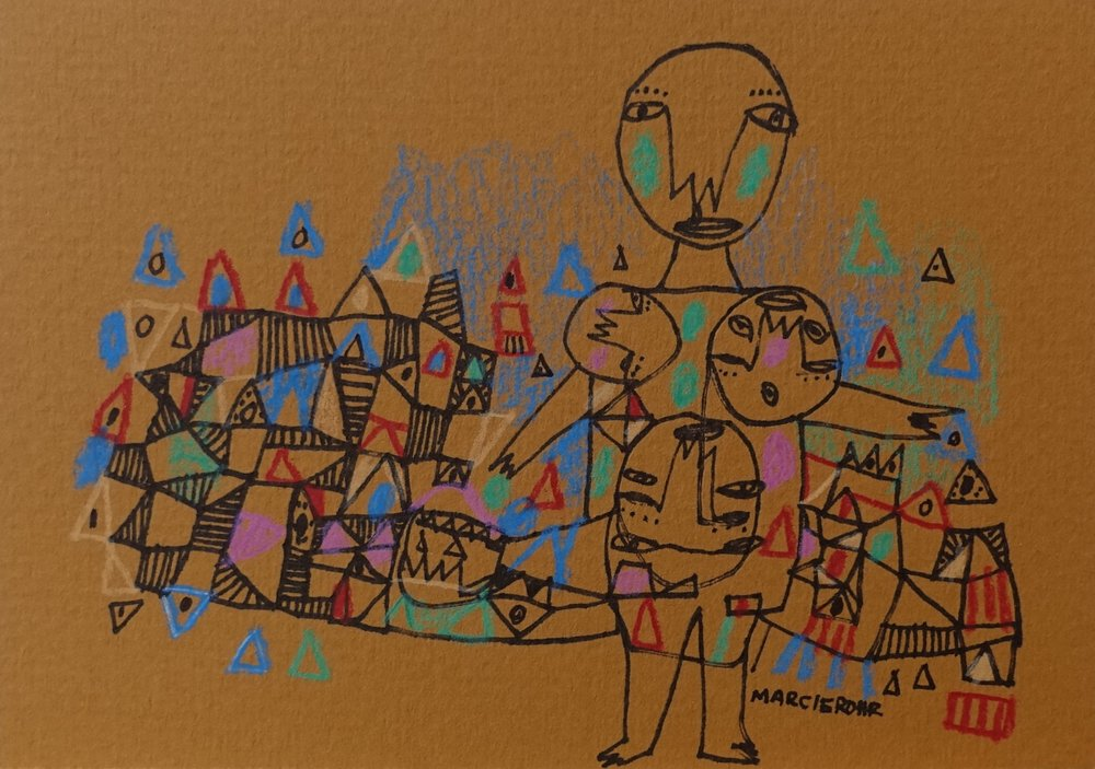 "Babe Juggling Lady   Marcie Rohr, 2016  5"" x 3.5""  mixed media on paper   sold"