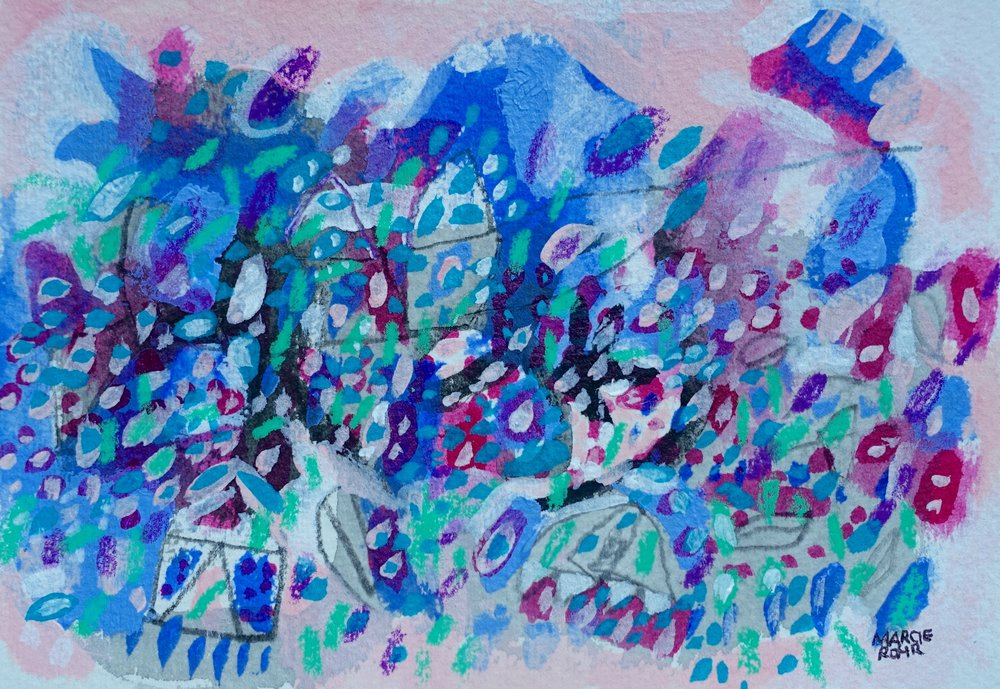 "Resurgent Community   Marcie Rohr, 2016  6"" x 4""  mixed media on paper   sold"