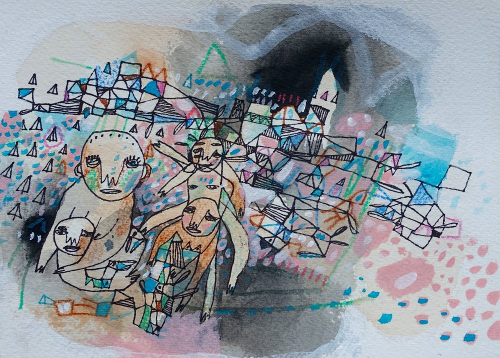 "This Is The Time For Storytelling   Marcie Rohr, 2016  7"" x 5""  mixed media on paper   Sold"