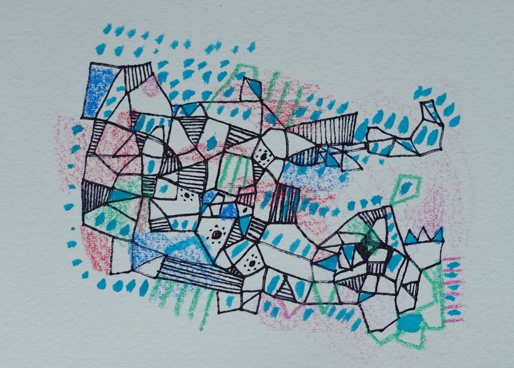 "Memory Map   Marcie Rohr, 2016  5"" x 3.5""  mixed media on paper   $70    framed in white and ready to hang    e-transfers accepted    contact marcierohr@gmail.com"