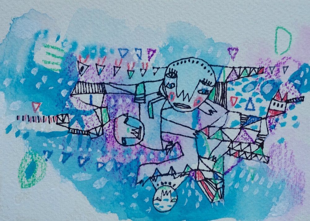 "Our Stories Are Linked   Marcie Rohr, 2016  5"" x 3.5""  mixed media on paper   sold"