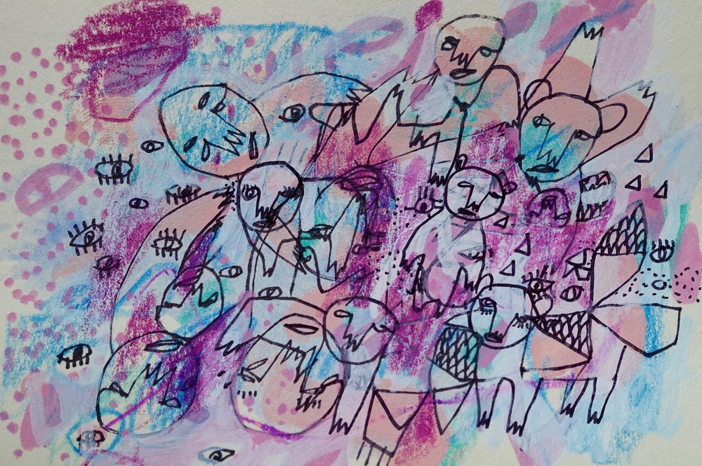 "Group Dynamics   Marcie Rohr, 2017  5"" x 3 1/2""   mixed media on paper  $70   framed in white and ready to hang    e-transfers accepted    contact marcierohr@gmail.com"