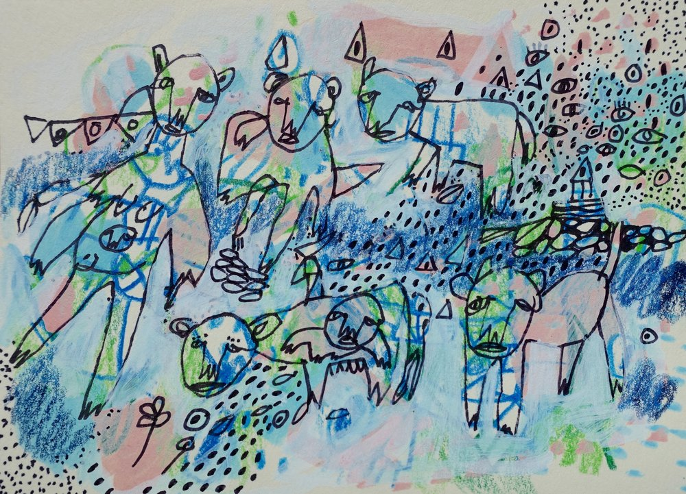 "Coexistence   Marcie Rohr, 2017  5"" x 3 1/2""   mixed media on paper  $70   framed in white and ready to hang    e-transfers accepted    contact marcierohr@gmail.com"