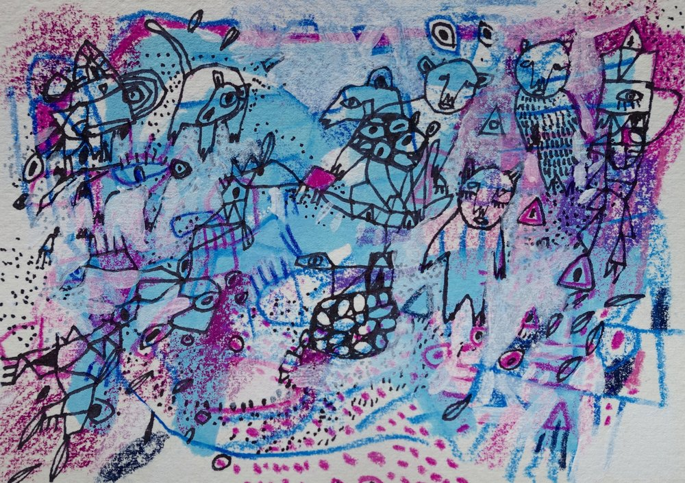 "History Hidden Throughout    Marcie Rohr 2017  5"" x 3 1/2""    mixed media on paper   sold"