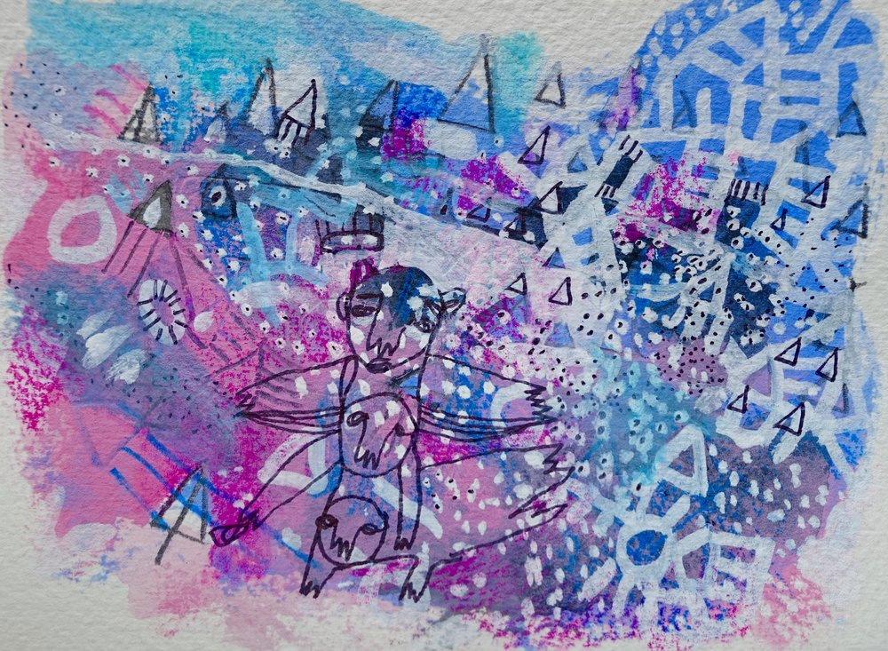"Turn and Return   Marcie Rohr, 2017  5"" x 3 1/2""   mixed media on paper  $70   framed in white and ready to hang    e-transfers accepted    contact marcierohr@gmail.com"