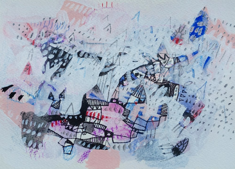 "A Glimpse of the Vista   Marcie Rohr 2016  7 1/8"" x 5 1/8""  mixed media on paper   sold"