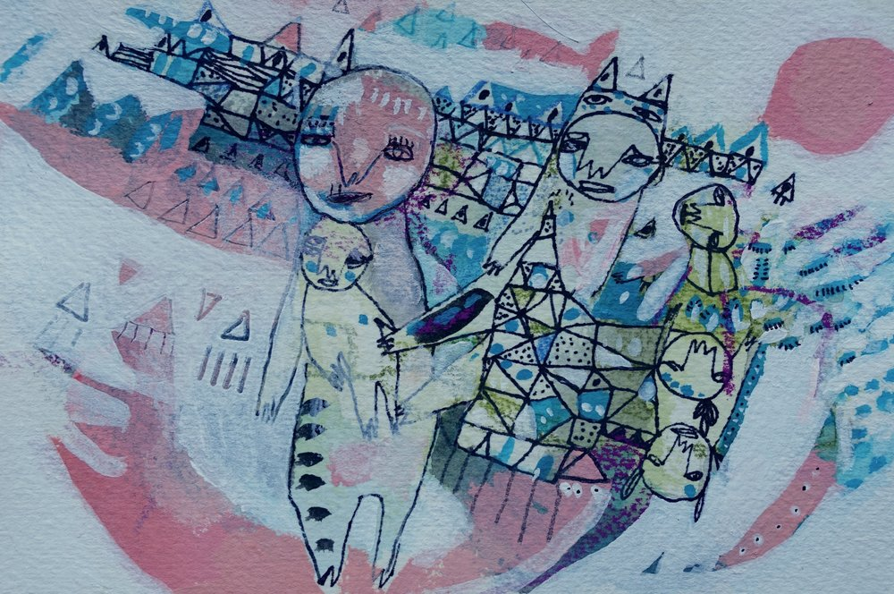 "Villages and Children and All That    Marcie Rohr, 2016  6"" x 4""   mixed media on paper  $85   framed in white and ready to hang    e-transfers accepted    contact marcierohr@gmail.com"
