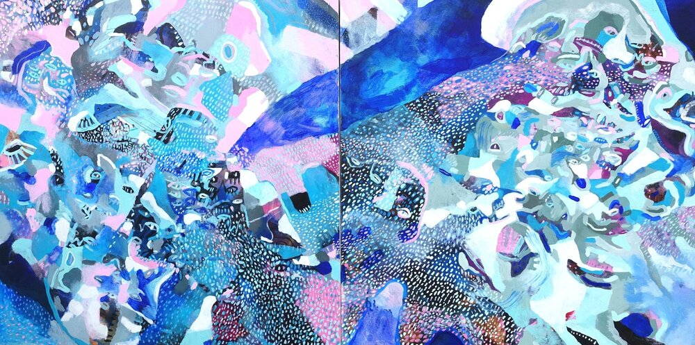 """How to Feel Small   Marcie Rohr, 2018  60"""" x 30"""" [Diptych]  acrylic on birch panels   $1,980 CAD"""