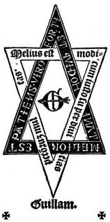 William Faques, 1503 - hexagram enclosing monogram pierced by an arrow