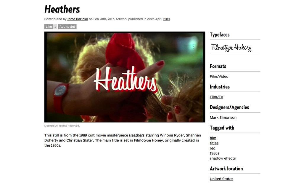 Heathers film title typography