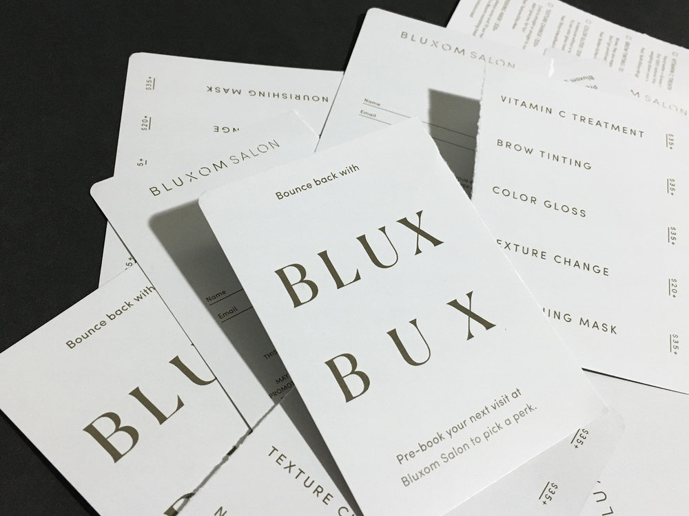 Perforated Blux Bux Cards: Customer name & email for the salon, services, descriptions & pricing for the customer.