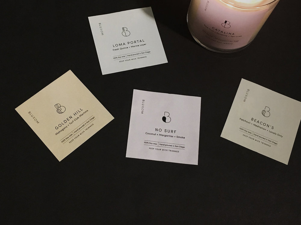 Candle Labels : 5 different scents w 5 different Bluxom B's and pastel colored vinyl labels for a distinct yet unifying look. Get a better look on  their insta.