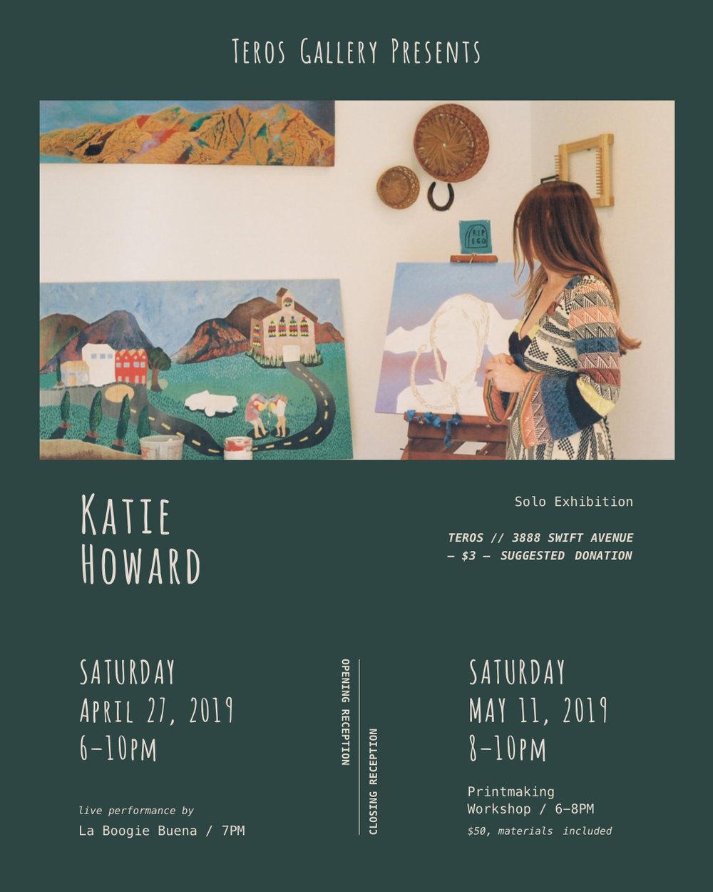 Katie Howard: Solo Exhibition flyer at Teros Gallery, San Diego