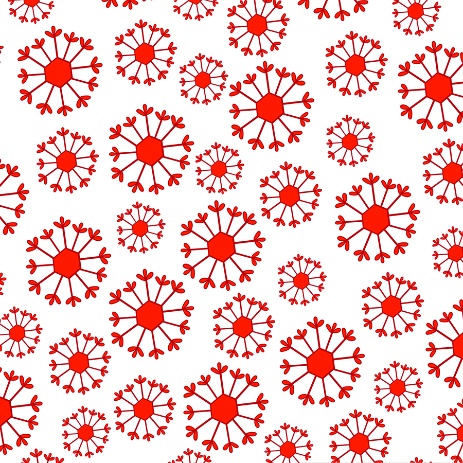 Red Snowflake on White