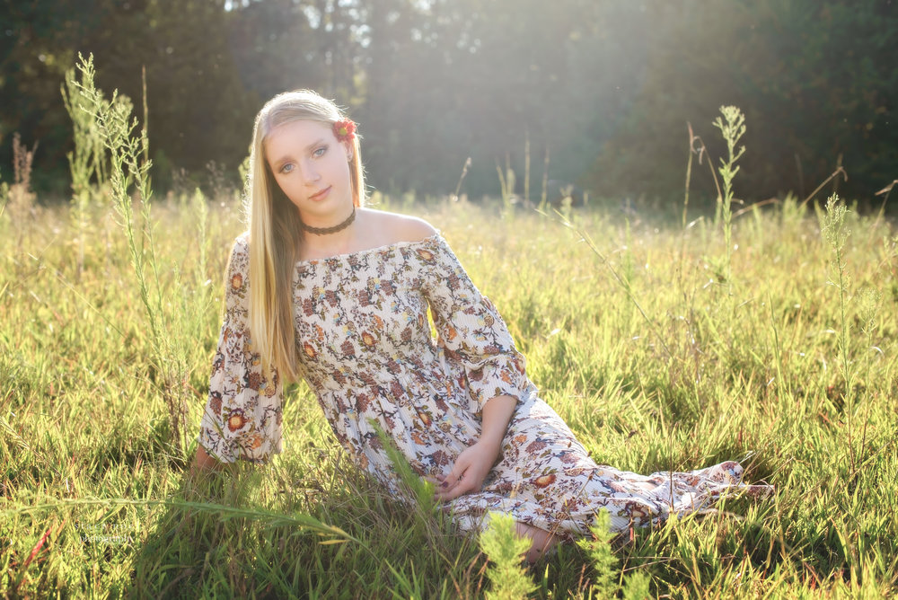 staci noel photography portraits of high school senior girl in dress in a summer field in Harrisburg NC