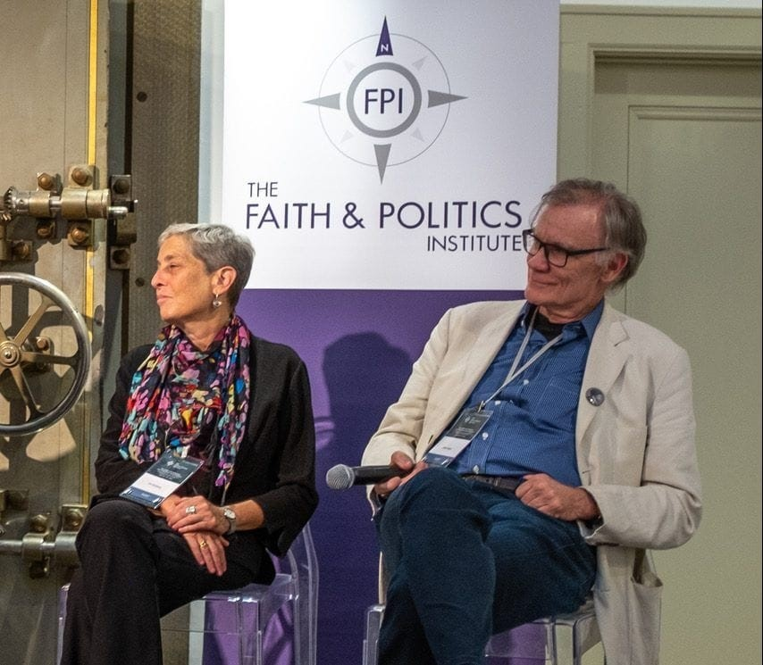 Penn State professor Lori Ginzberg and Yale University professor David Blight listen during a Faith & Politics panel in Geneva, N.Y., on July 21. (Chantale Wong/Faith & Politics Institute)