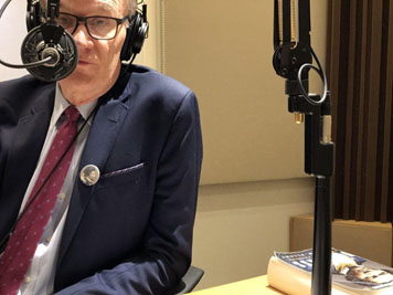 "David Blight, author of ""Frederick Douglass: Prophet of Freedom,"" speaks with The Washington Post's Jonathan Capehart during an interview for the ""Cape Up"" podcast on Oct. 2 at the WNYC radio studios in New York City."
