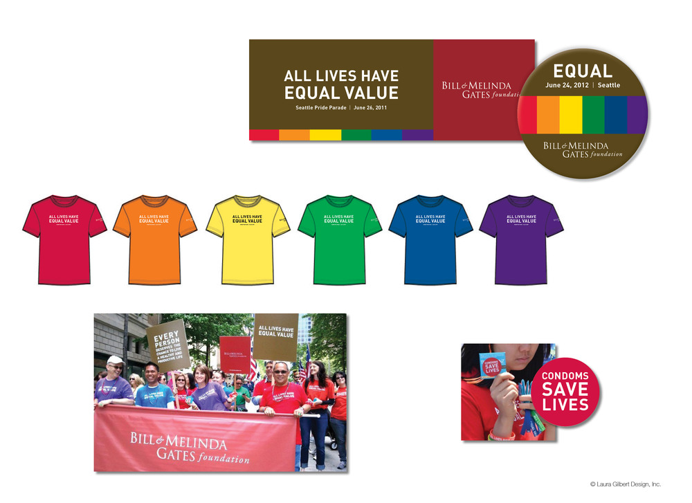 Event branding, t-shirts, signs, and giveaways for an employee group participating in Seattle's Pride events