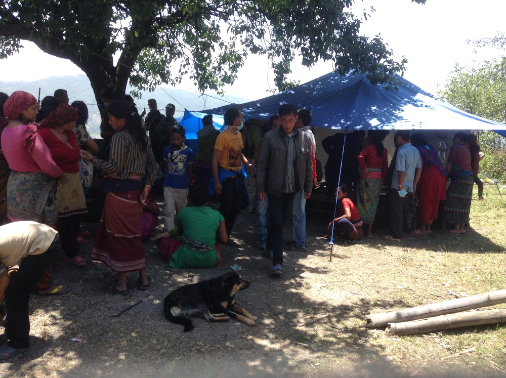 Distribution and registration tent at the Sankhu Relief center.