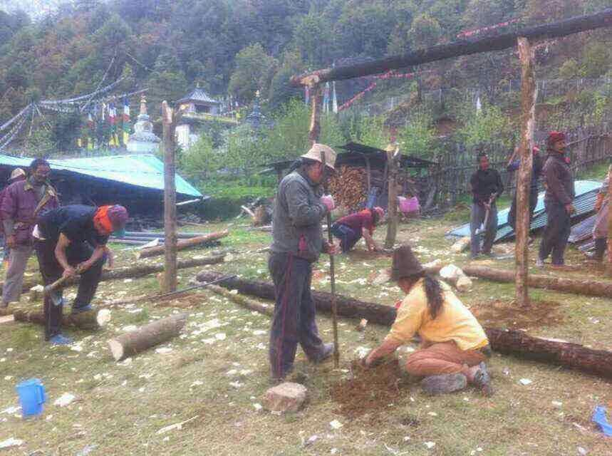 constructing stable shelter in drupadrong 2 with our team 2