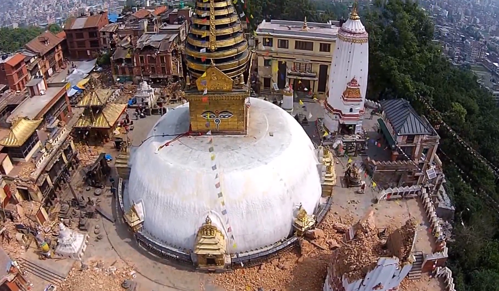 Swayambunath Stupa in Kathmandu after Initial Earthquake