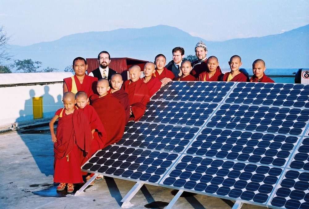 Lama Rangbar with Kopon Monks and solar array