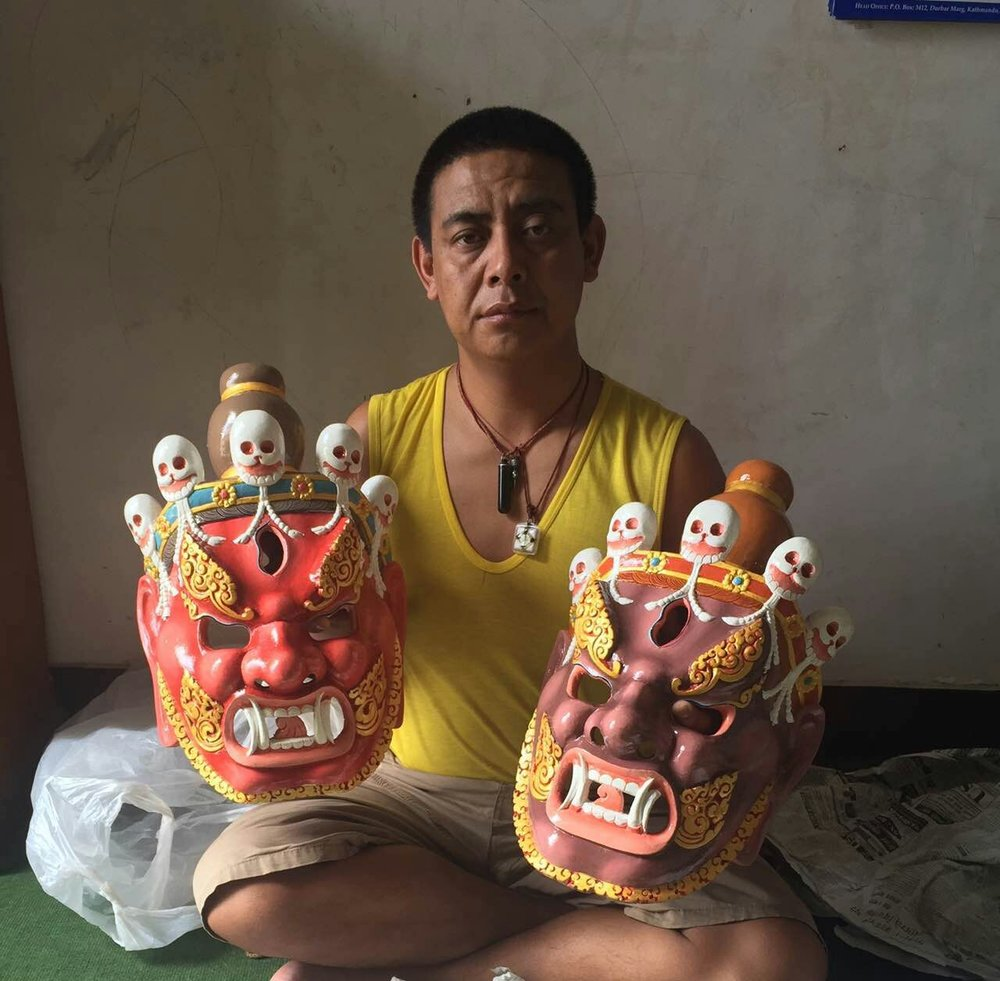 Lama Pema Thobchen with the new Ging Masks