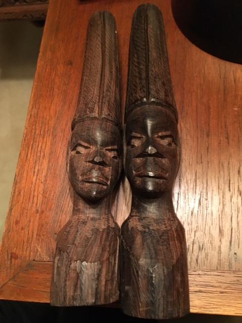 Pair of Nigerian Maconde Tribe Ebony Heads