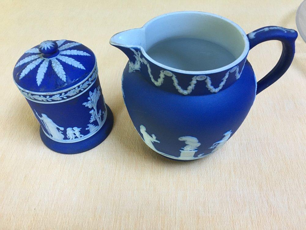 Wedgwood Greek pitcher and sugar bowl