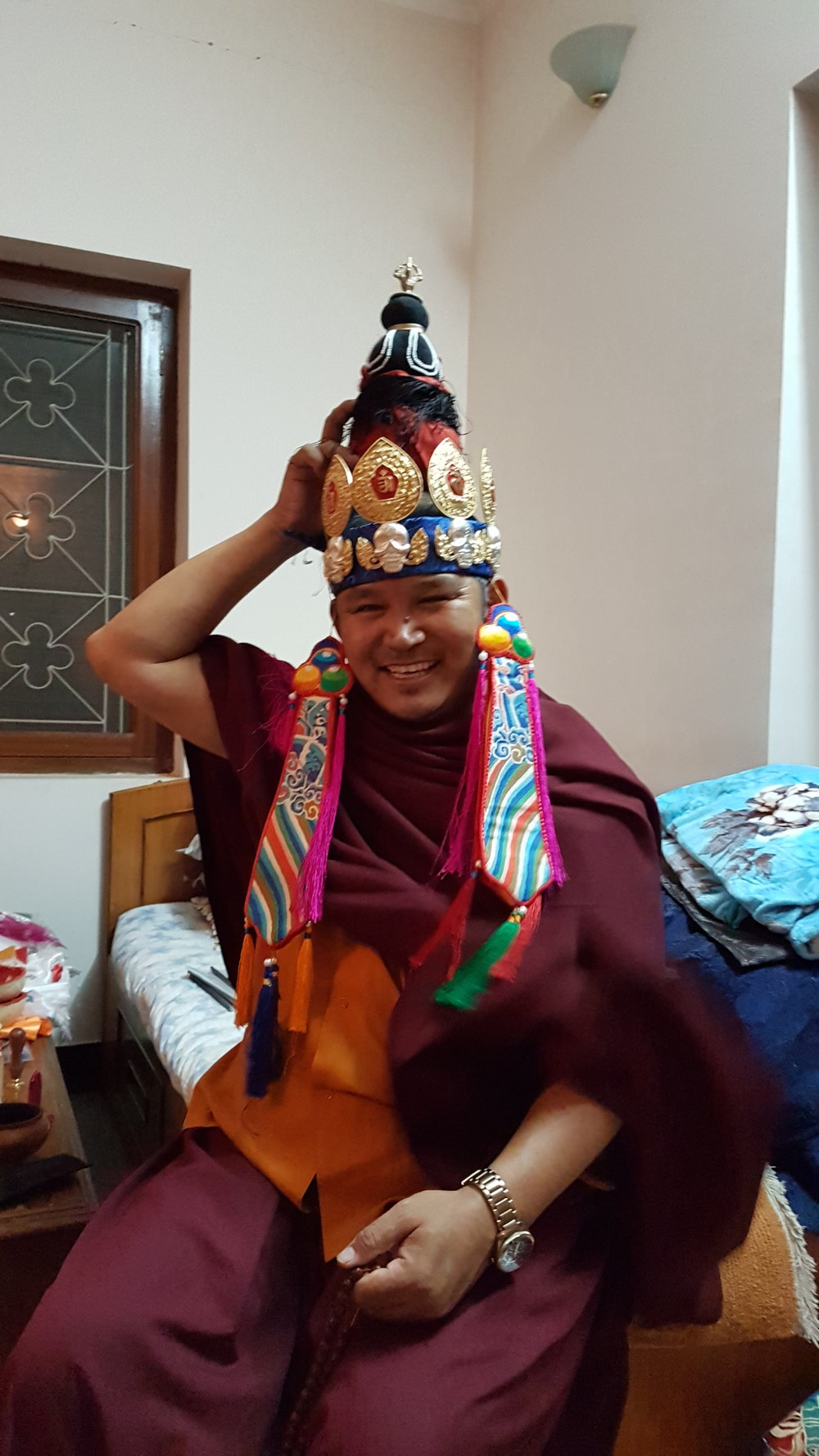 Tulku Thadral trying it on