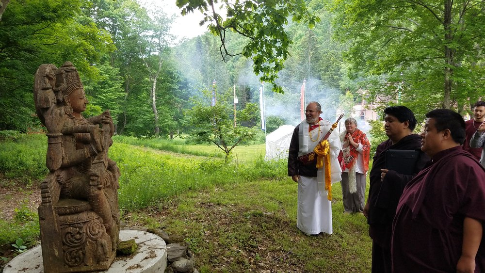 Offering the Rinpoches a tour of the Big Indian Meditation Retreat and Healing Sanctuary