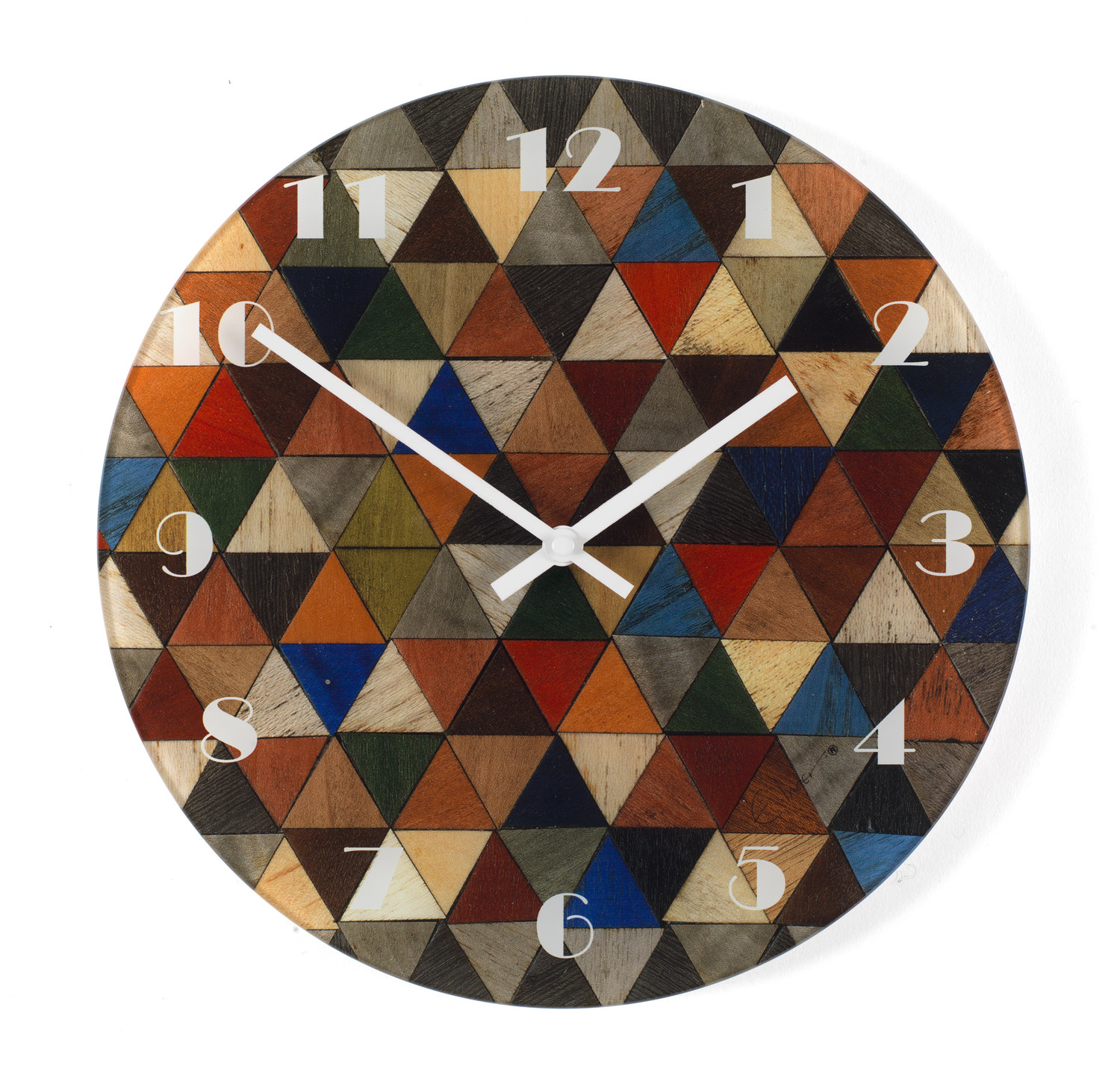 30 wall clock open face large round wall clock toughened recycled glass harlequin range 30 cms or 12 inch diameter