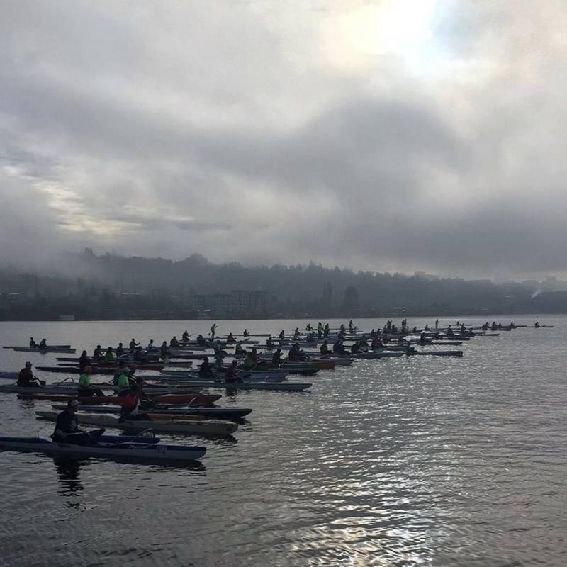 Race Start of Winter Series #1 – Lake Union Race – Hui Wa'a O Wakinikona - Photo by Michael Hammer
