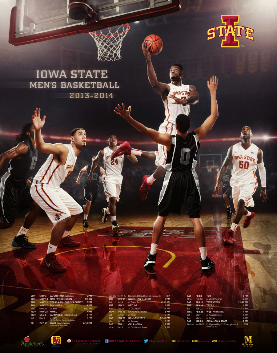 Iowa State Cyclone Men's Basketball 2013 2014 schedule poster by McClanahan Studio
