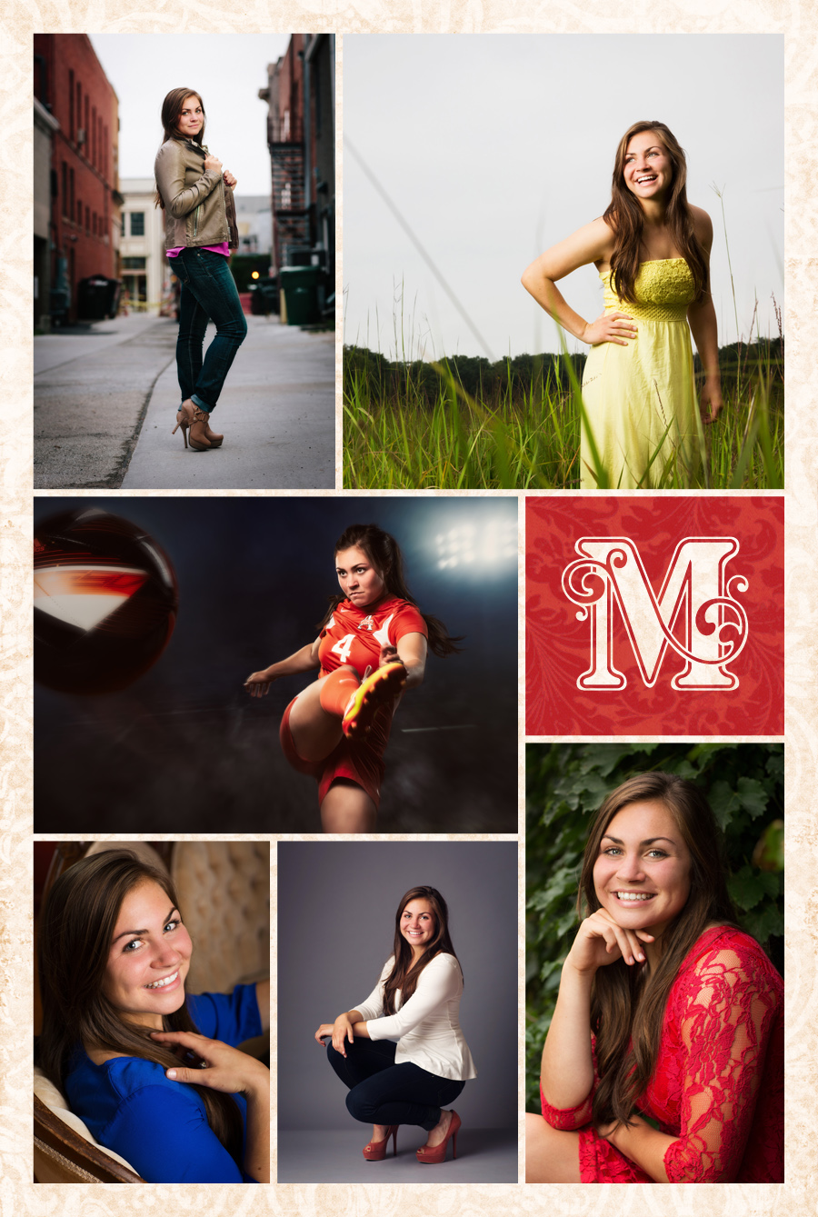 Senior portraits of Ames high graduate Stella Maris Strohman photographed in and around McClanahan Studio. Soccer night game composite, red dress, laughing in a prairie and looking fashionable on vintage furniture