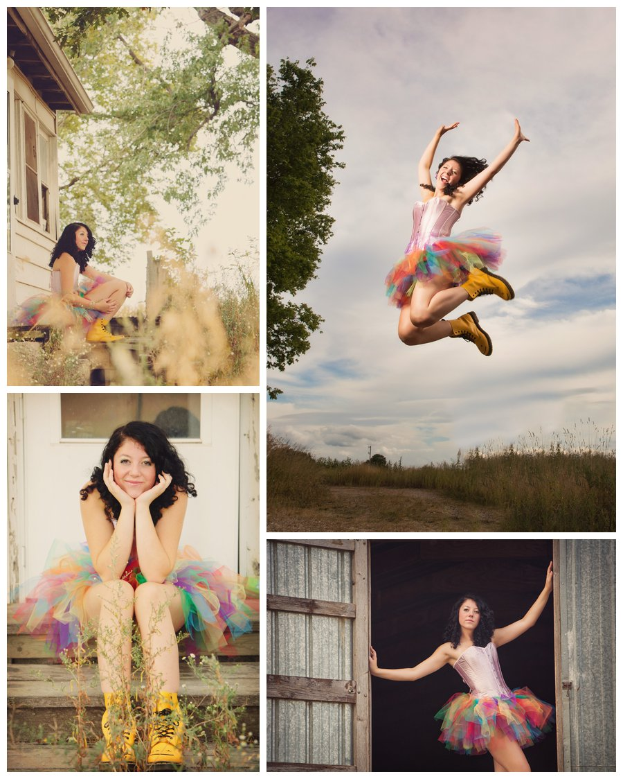 Images of Fro in a rainbow tutu and happy rain boots on an Iowa farm. Jumping and prairie grass at Fro's rockstar senior session with McClanahan Studio in Ames, IA!